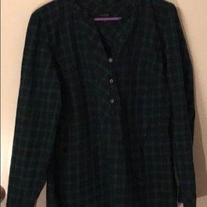 Talbots MED Green Plaid Long Sleeve  Top Blouse